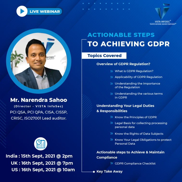 Free Webinar:- Actionable Steps to Achieving GDPR